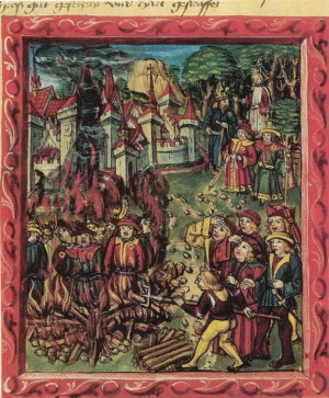 Medieval manuscript Jews identified by rouelle are being burned at stake, 1515