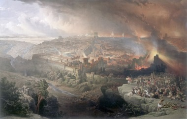 The destruction of Jerusalem by the Romans in 70 AD -- a painting by David Roberts (1796-1849).