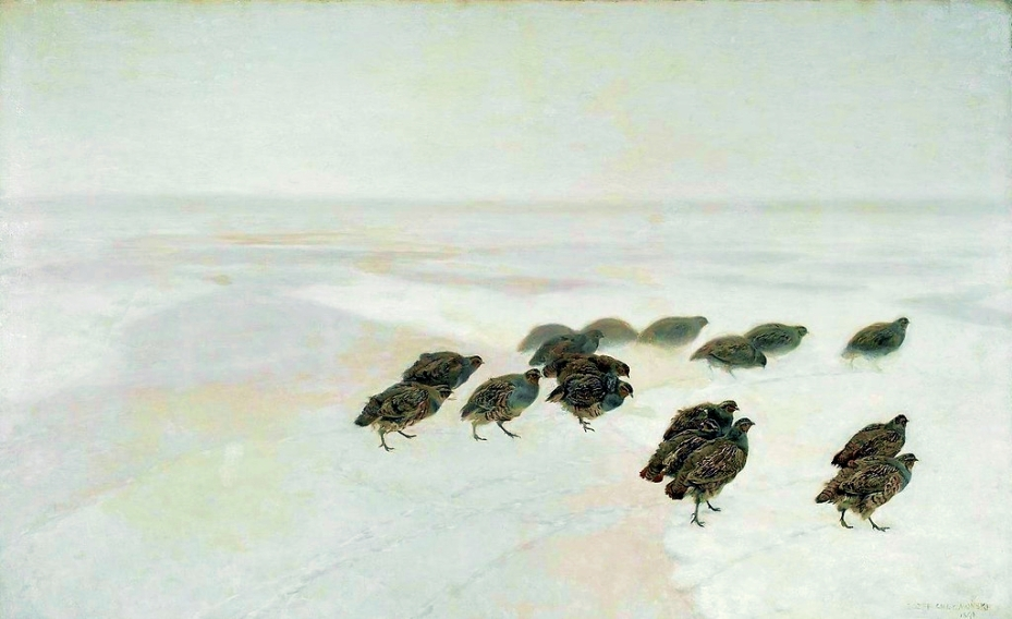J. M. Chełmoński Partridges in the snow Public Domain via Wikimedia