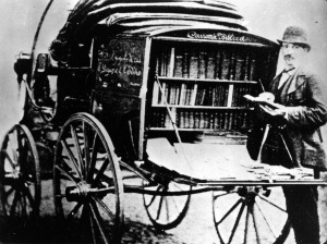 Colportore (pedlar) of the Claudiana 19th century with his Biblical Wagon uploaded to Wikimedia by Mkromer, category Waldensians (Valdesi)