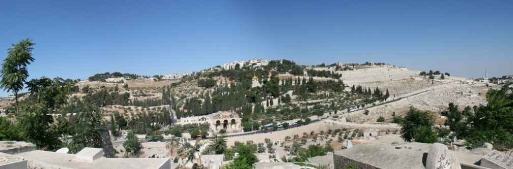 Mount of olives panoramic Public Domain through Wikimedia