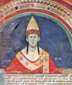 Innocent III, the pope who called for the crusade against the Albigensians, early Bible Christians who lived in southern France
