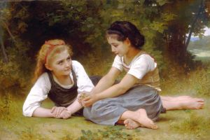 Les Noisettes or The nut gatherers by William-Adolphe Bouguereau, 1882, Wikimedia, Public Domain