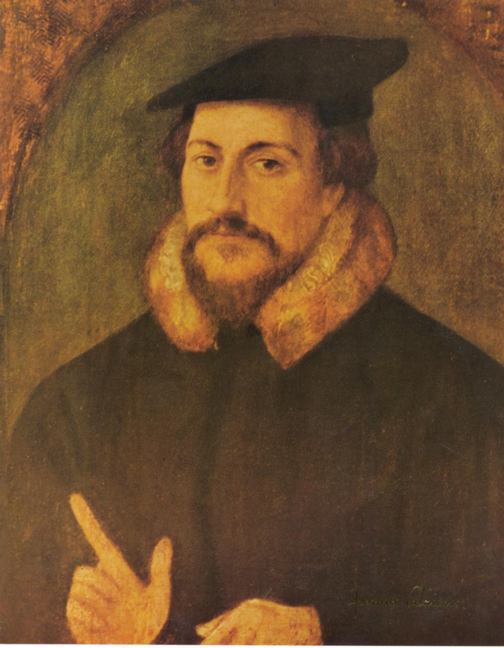 """John Calvin"" - Believed to be authored by Hans Holbein c. 1540 - Heckman Digital Archive."