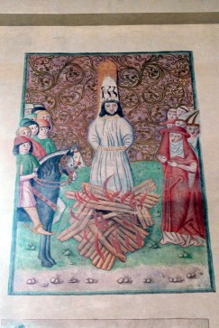 Bethlehem chapel (Prague ), Reproduction of a painting showing the execution of Jan Hus, Wolfgang Sauber, 10 June 2010, Wikimedia Commons