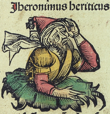 Wood cut from the Nuremberg Chronicle (Latin copy in Sao Paulo) - Jerome Heretic, 1493, Public Domain, Wikimedia Commons