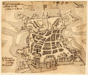 View of La Rochelle, 1573, pen and ink drawing, Public Domain, Wikimedia