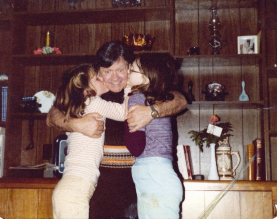 1981 Dad and his granddaughters Laura and Julie