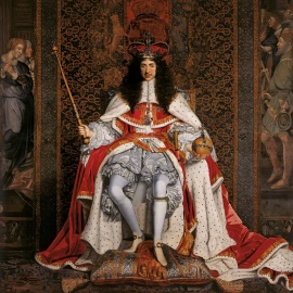 Charles was crowned at Westminster Abbey on 23 April 1661. Coronation portrait by John Michael Wright, c. 1661