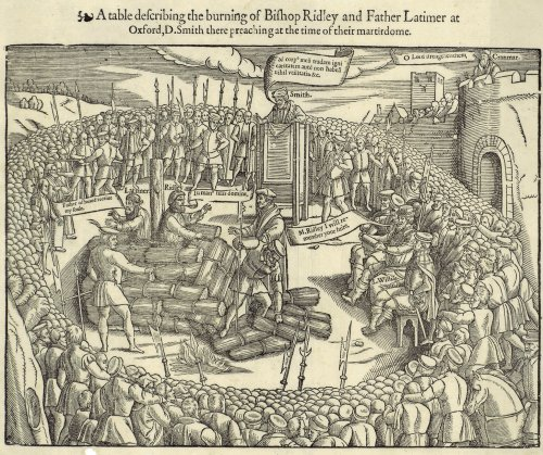 Hugh Latimer and Nicholas Ridley martyred by being burnt at the stake. John Foxe's book of martyrs. 1563 edition.