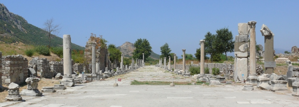 Street scene at the archeological exacavations at Ephesus. Ephesus (Ancient Greek Ἔφεσος, Turkish Efes) was an ancient Greek city on the west coast of Anatolia, near present-day Selçuk, Izmir Province, Turkey.