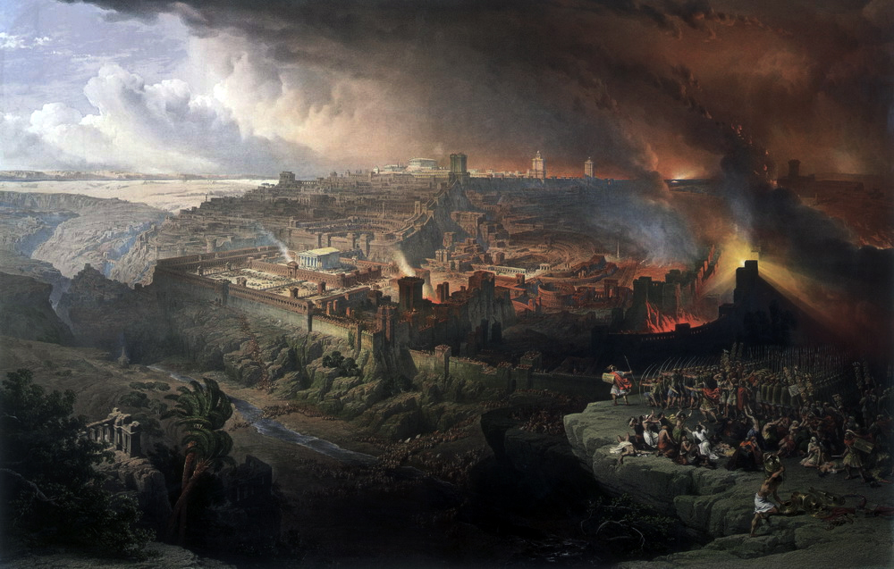 The Siege and Destruction of Jerusalem by the Romans Under the Command of Titus, A.D. 70, by David Roberts (1850)