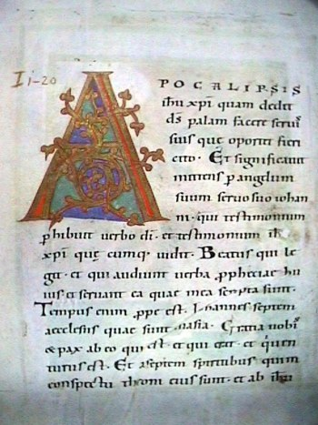 "A page from the Bamberg Apocalypse with a large decorated initial ""A"". Text from Revelation 1:1-4."