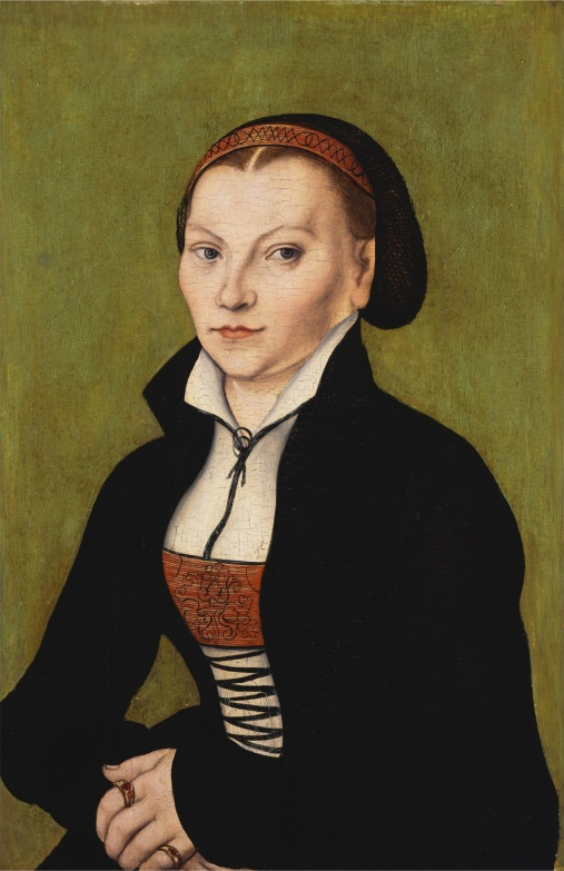 CH376219 Portait of Katharina von Bora (oil on panel) by Cranach, Lucas, the Elder (1472-1553); Private Collection; (add.info.: future wife of Martin Luther (1483-1546), leader of the Reformation in Germany;); Photo © Christie's Images; German, out of copyright