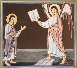 The Bamberg Apocalypse Folio 025v Angel With Little Book - 11th Century