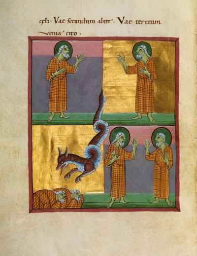 Bamberg Apocalypse Folio 027v Two Prophets And Beast From Abyss