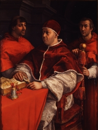 Raphael's Portrait of Leo X with cardinals Giulio de Medici - later Pope Clement VII - and Luigi de' Rossi, his first cousins