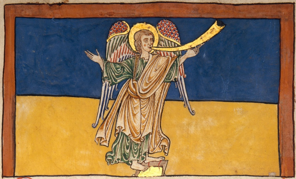 The Seventh Angel of the Apocalypse Proclaiming the Reign of the Lord - Spanish, circa 1180 - unknown miniaturist