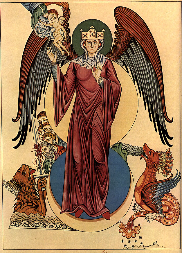 Woman of the Apocalypse - from the Hortus Deliciarum by Herrad of Landsberg - 12th Century