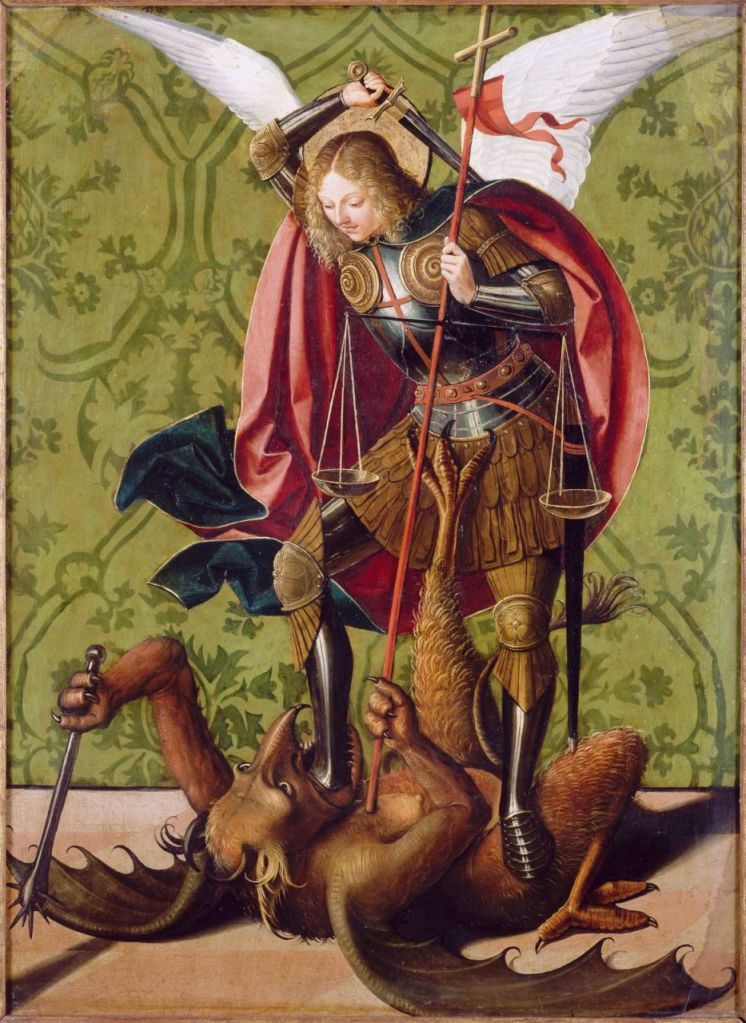 Saint Michael slaying the Dragon - Josse Lieferinxe, Master of St. Sebastian, 15th Century
